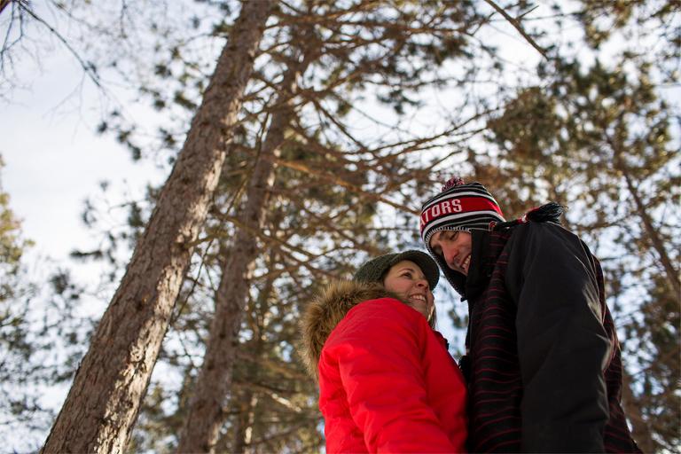 winter engagement, Ottawa_YOW_engagement_winter_cold_snow_forest_portrait_sun_laugh_bluebird