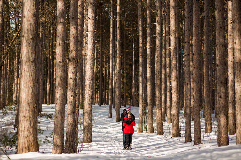 winter engagement, Ottawa_YOW_engagement_winter_snow_forest_portrait_tall_trees