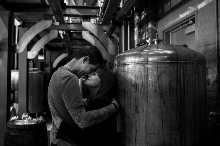kingston photographer engagement photos amsterdam brewery toronto make portraits connection blackandwhite